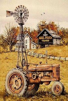 Tractor Painting Farm Art Tractor Art Barn Art