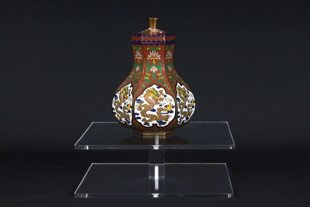 China 20. Jh. Deckeldose -A Chinese Cloisonné Enamel Dragon Box - Chinois Cinese