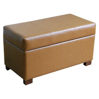 This Is Our Storage Ottoman Threshold Faux Leather Tan