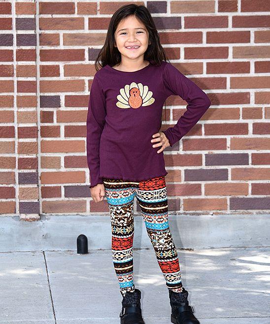 Purple Turkey Tee & Black Geometric Leggings - Toddler & Girls