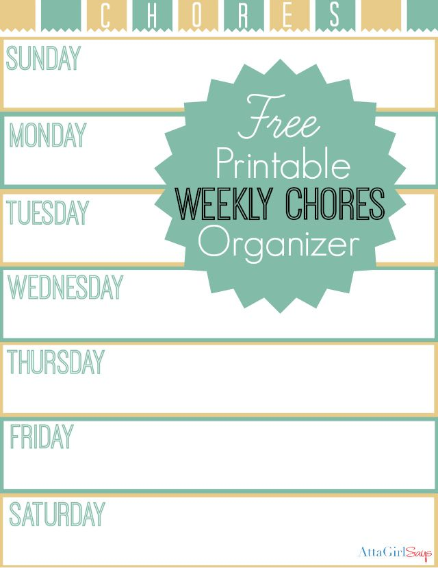 Free Printable Weekly Chore Chart Use This Handy Checklist To