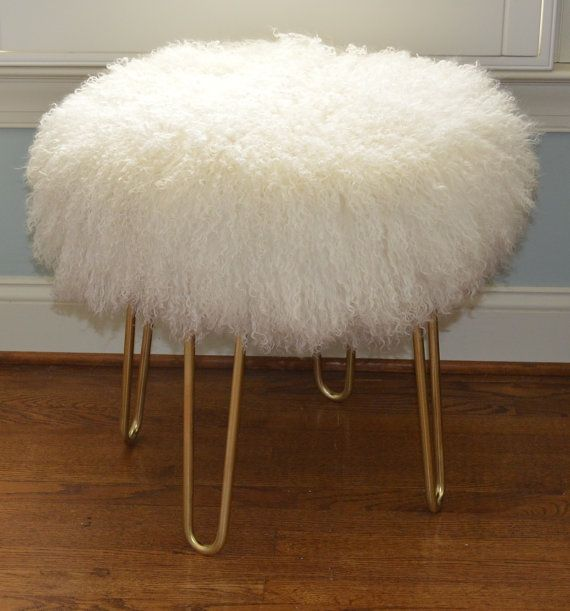 Beautiful Mongolian Lamb Fur Stool