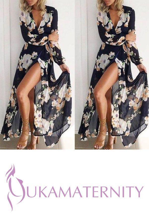 9b25a612565 Bohemia Deep V Collar Printing Long Sleeves Beach Vacation Dress ...