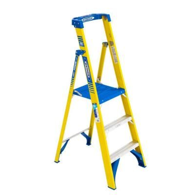 Werner 9 ft. Reach Fiberglass Podium Step Ladder with 250 lbs. Load Capacity Type I Duty Rating-PDFS103 - The Home Depot