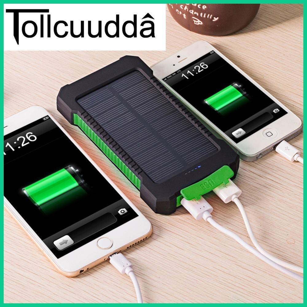 Tollcuudda Waterproof 10000mah Solar Power Bank Solar Charger Dual Usb Power Bank With Led Ligh Solar Power Charger Solar Phone Chargers Solar Charger Portable