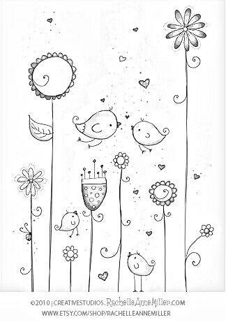 Kleurplaat Draw Pinterest Art Birds And Doodles