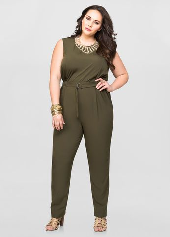 c3515e46eb2f Straight Leg D-Ring Jumpsuit Straight Leg D-Ring Jumpsuit Plus Clothing