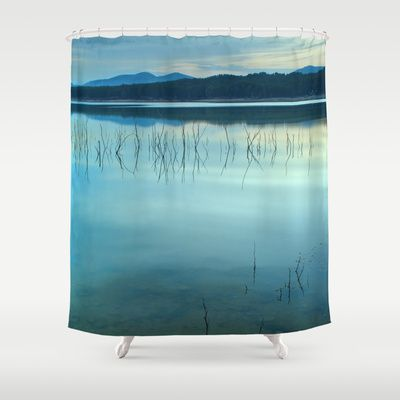 Blue sunset at the lake Shower Curtain by Guido Montañés - $68.00