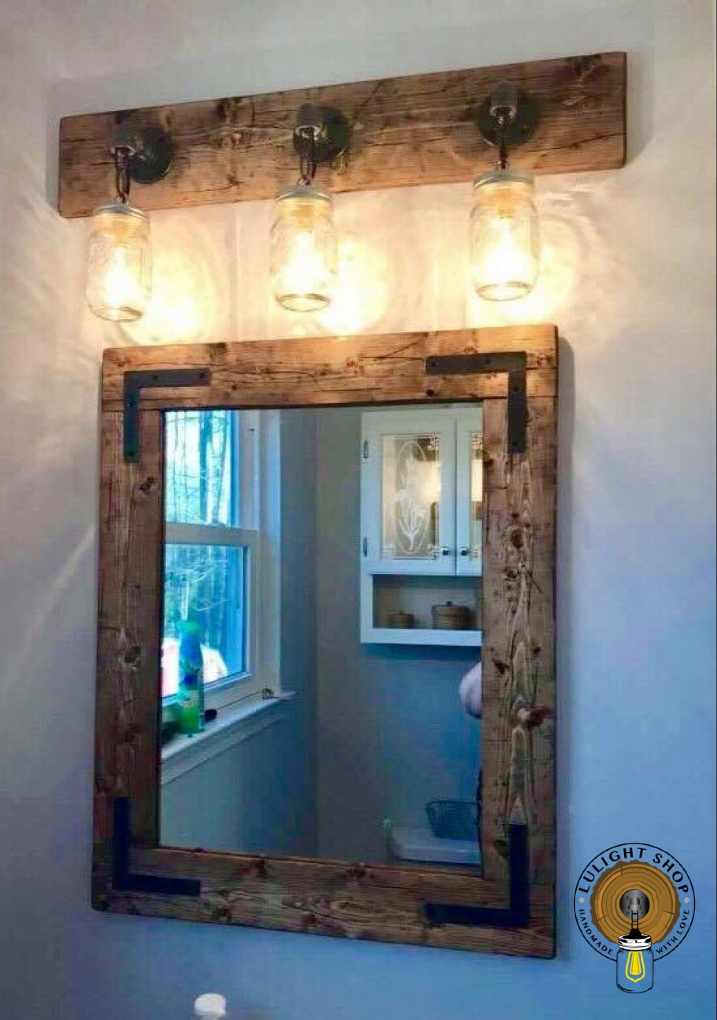 Rustic Distressed Bathroom Light Bathroom Decor Light For Bathroom Vanity Mason Jar Light I Mason Jar Light Fixture Farmhouse Mirrors Rustic Bathroom Decor