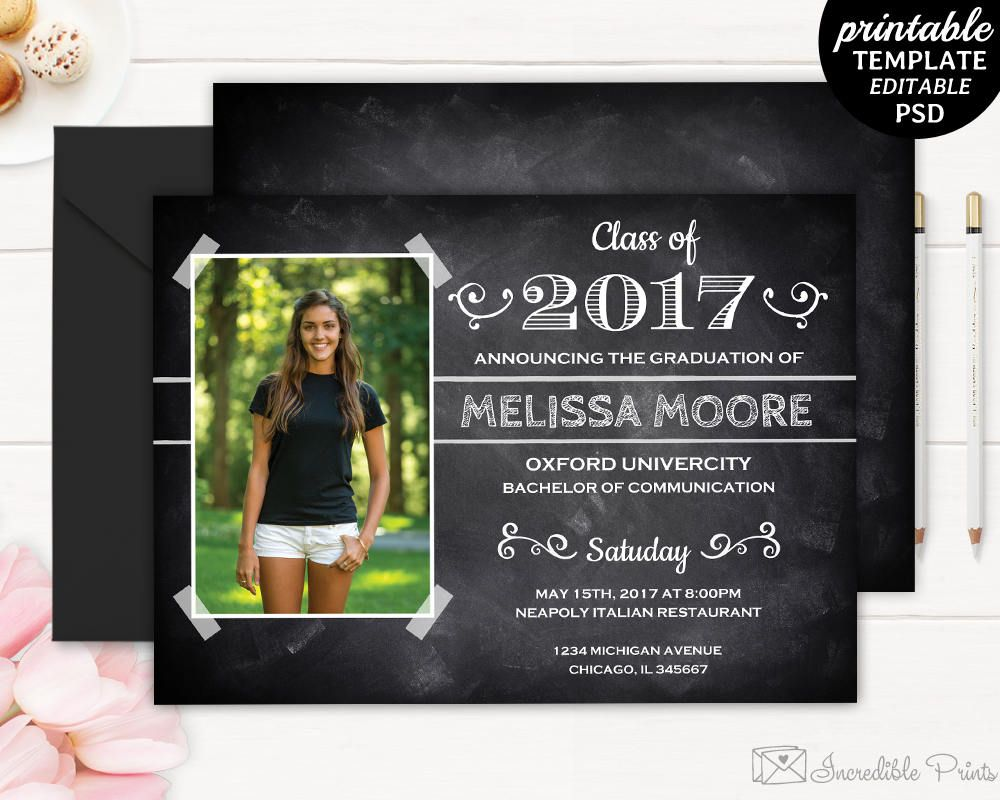 Graduation Invitation Template. Printable Chalkboard Graduate Party ...