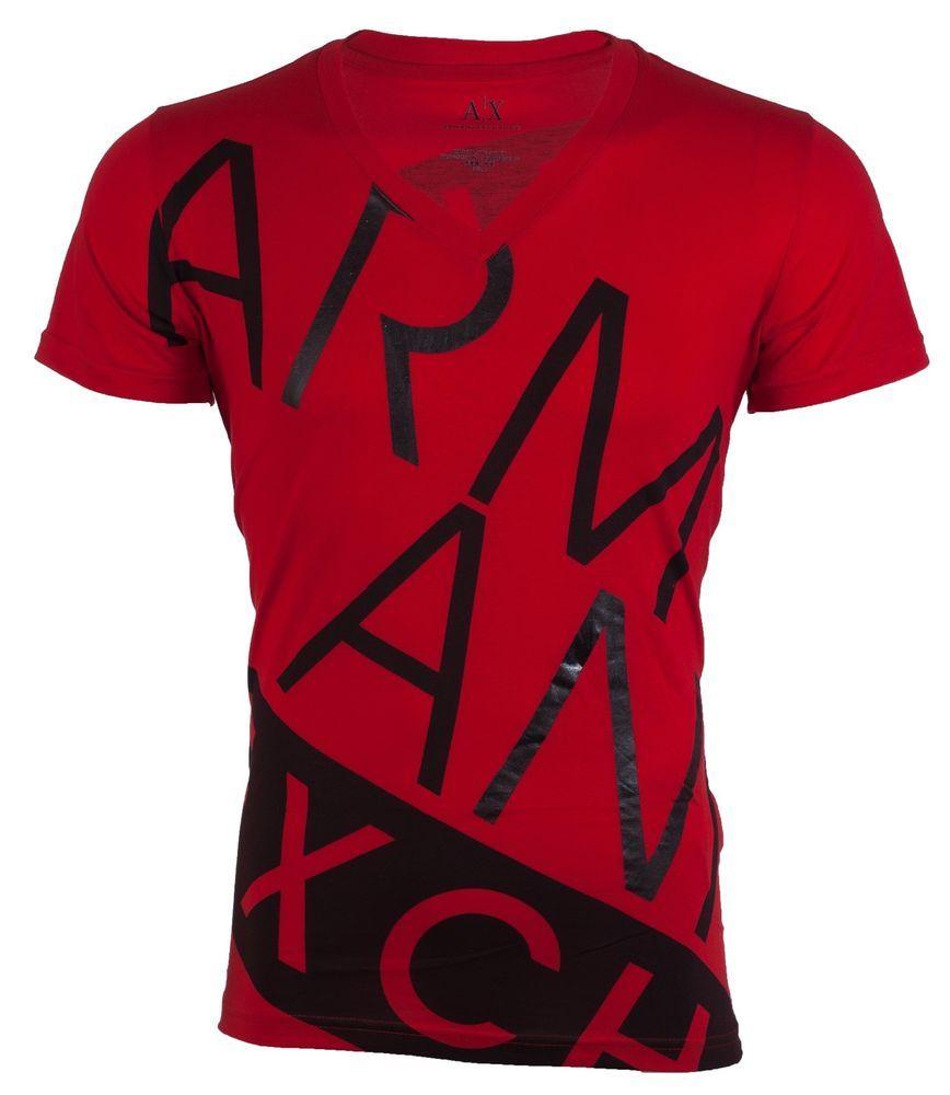 Armani Exchange Bias Mens Designer T Shirt Premium Red Black Slim