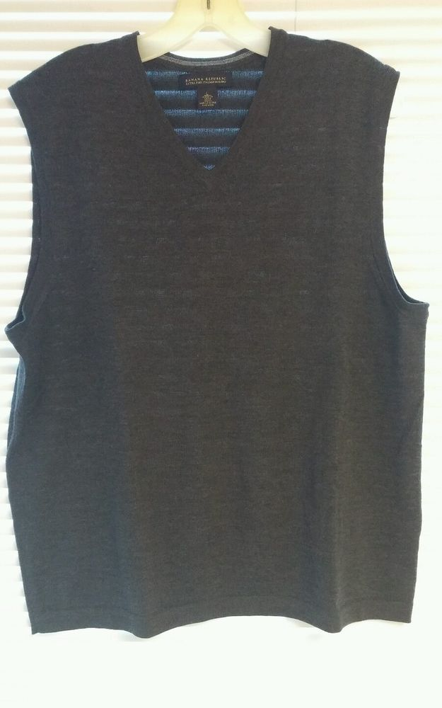 Banana Republic Mens Wool Sweater Vest Large Charcoal Gray Preowned #BananaRepublic #Vest