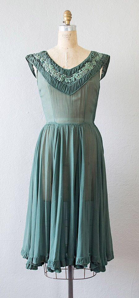 Vintage 1940s Hunter Green Sheer Beaded Party Dress In