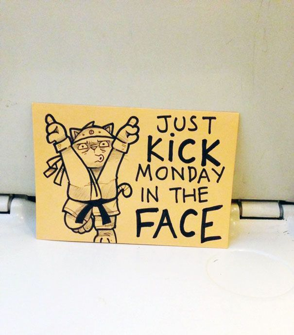 Artist Leaves Cute Motivational Sticky Notes On The Train - Hilarious motivational cat post notes found train
