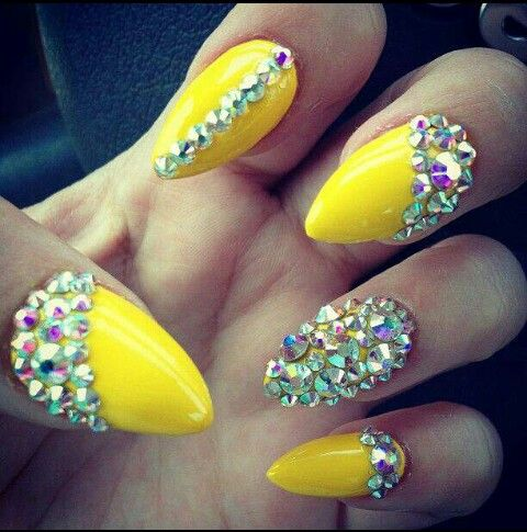 Neon Yellow Nails With Rhinestones Nails Design With Rhinestones