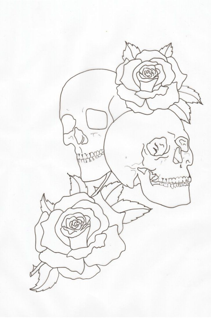 Skulls And Roses Outline By Lou987 On Deviantart Skull And Rose Drawing Rose Outline Outline Drawings