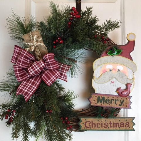 Santa Wreath Christmas Door Decoration Artificial Wreaths For