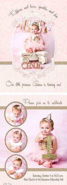 Linnea, Birthday Invitation Photo Card Template Glitter cake, Cake - birthday invitation card template photoshop