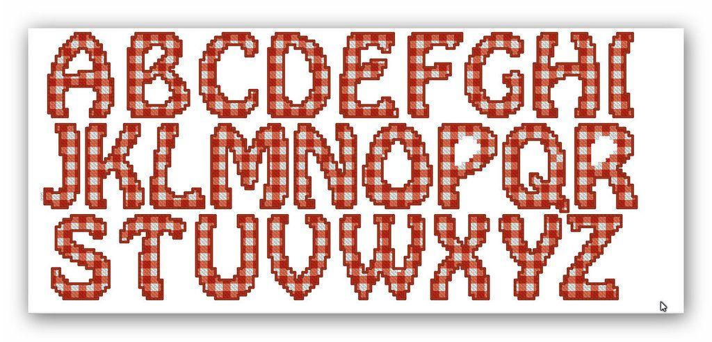 File di ricamo a macchina a punto croce alfabeto a for Schemi punto croce alfabeto bambini