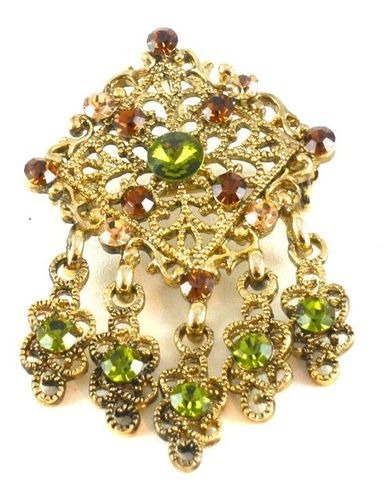 Green Topaz Gold Brooch/Pendant