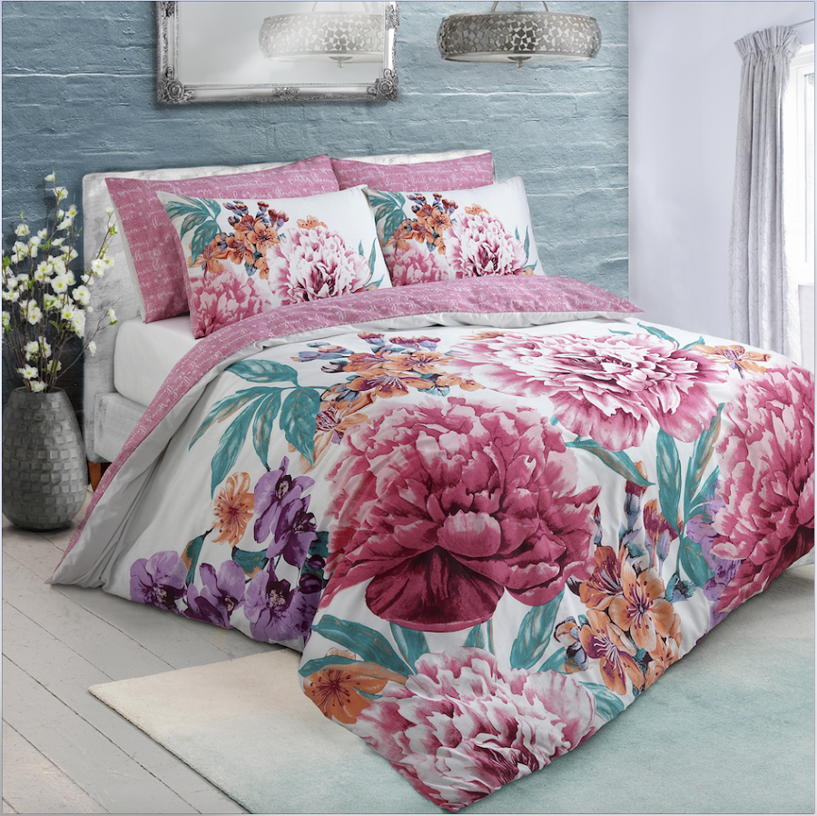 REVERSIBLE INKY FLORAL DUVET SET cover pillowcases grey purple lilac flowers