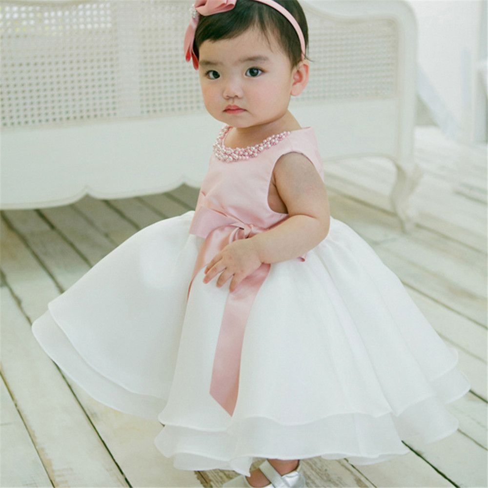 6f9aa6337362 1 Year Birthday Party and Wedding Tutu Dress with Pearl Toddler Girl ...