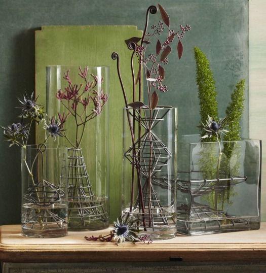 floral arrangements Vintage glass flower frog lot of 3