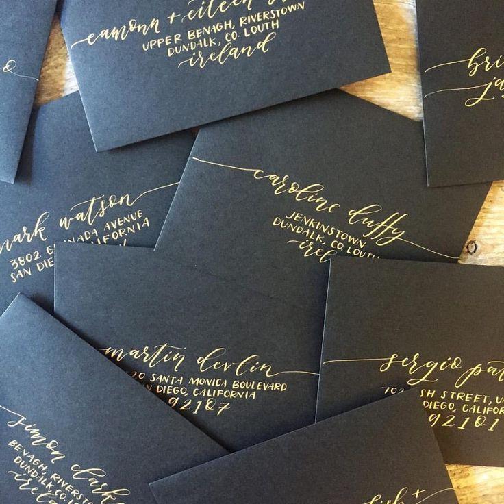 How to Address Wedding Invitations | Black gold weddings, Gold ...