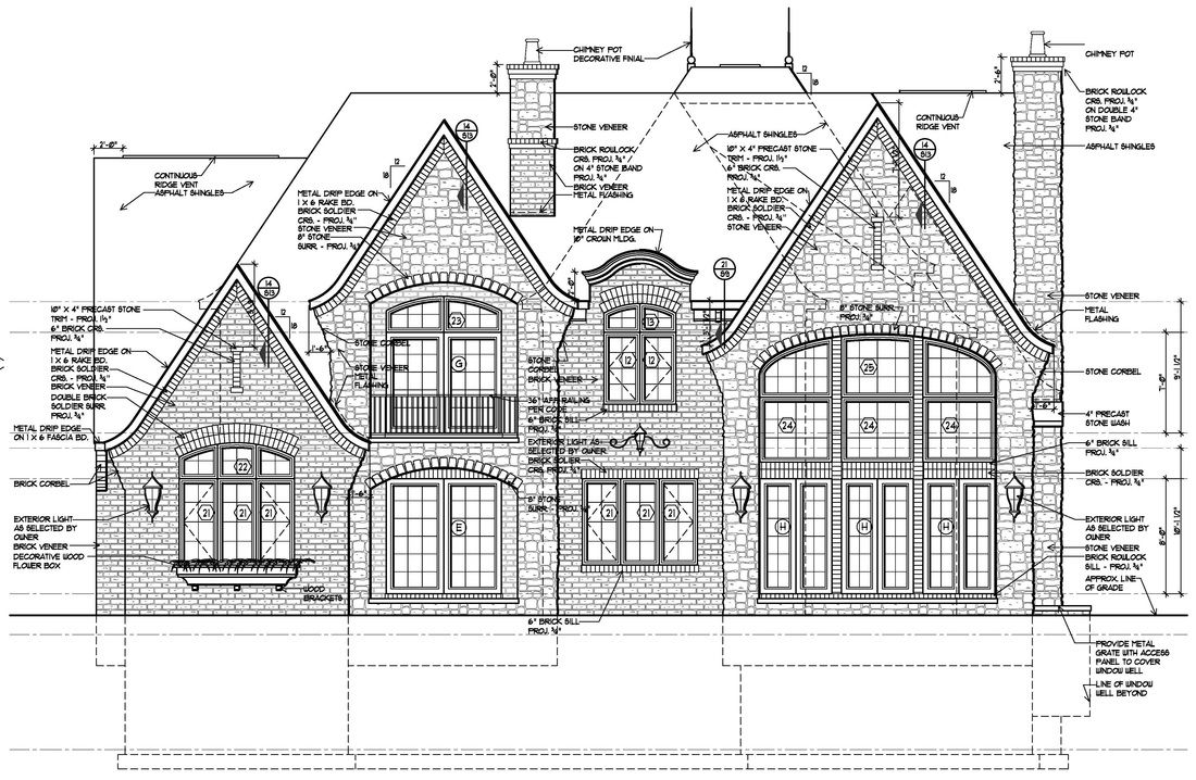 Rear elevation drawing for English Manor home design in Birmingham ...