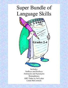 Super Bundle of Lanuage Skills This 59 page package is a collection of printable worksheets that cover a variety of ELA skills.  It includes: ABC Order Practice to the Third Letter Printable Worksheets Antonyms and Synonyms Homophones Suffixes and Prefixe