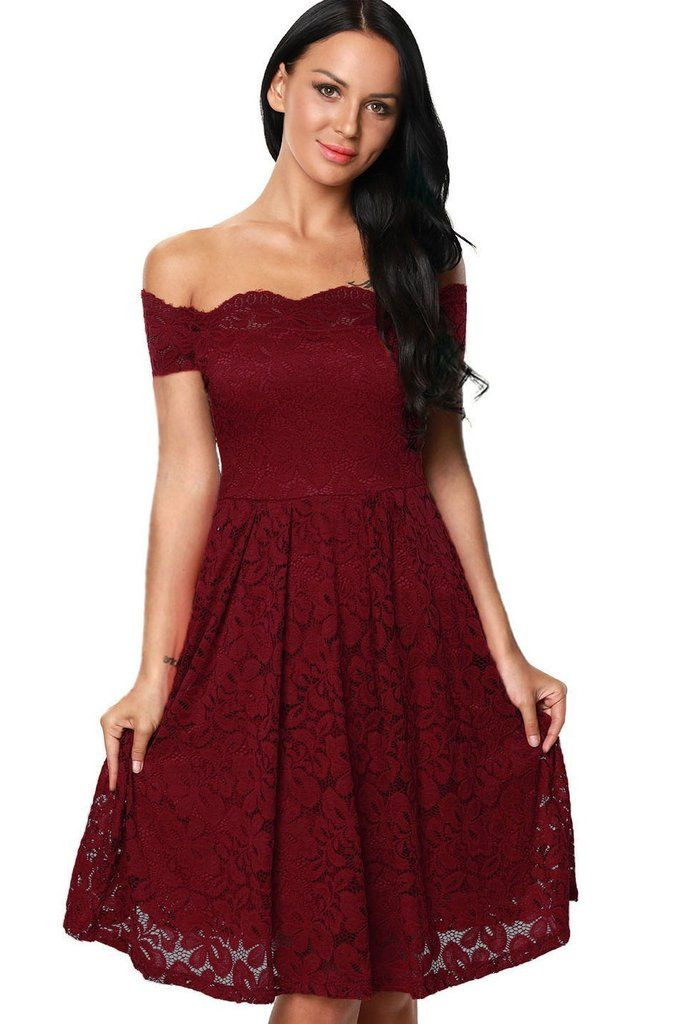 Scalloped Off Shoulder Flare Plus Size Burgundy Lace Dress In 2018