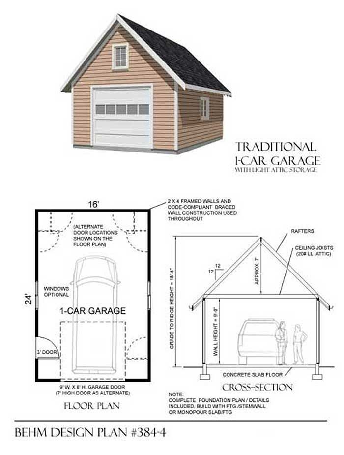 1 Car Attic Garage Plans With One Story 384 4 16 X 24 By Behm