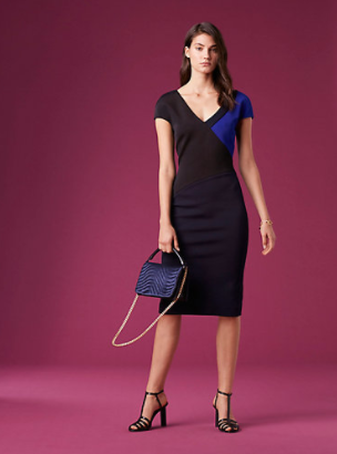 4a5829231cec The Short-Sleeve V-neck Banded Dress from the DVF Winter '17/18 Collection.