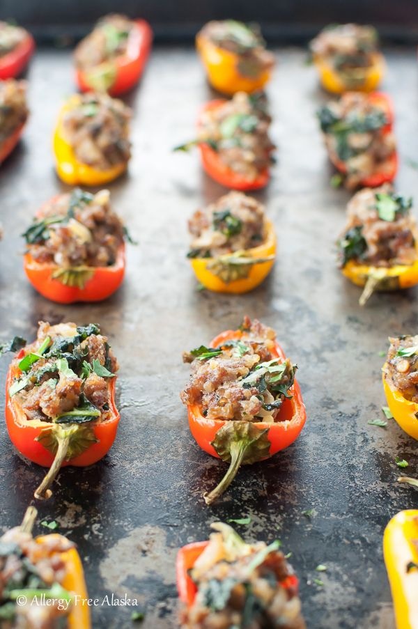 Sausage Stuffed Mini Peppers With Kale Allergy Free Alaska Stuffed Mini Peppers Stuffed Peppers Recipes