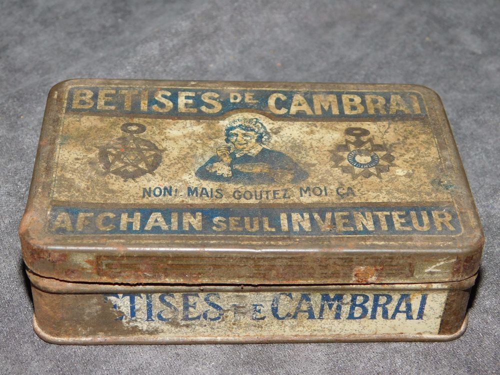 Ancienne boite metal betises de cambrai afchain seul - Boite metal ancienne ...