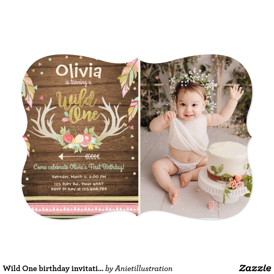 Wild One birthday invitation First birthday Girl | Idea\'s to make in ...