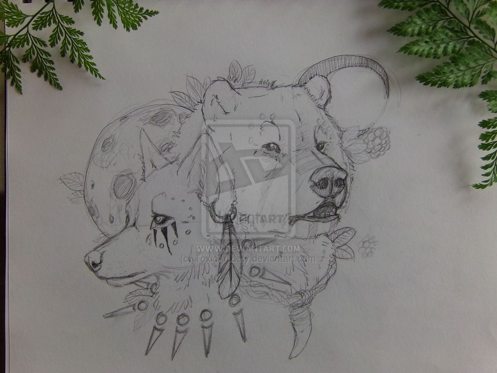 Wolf and Bear tattoo sketch by ToxicAnxiety.deviantart.com on @DeviantArt