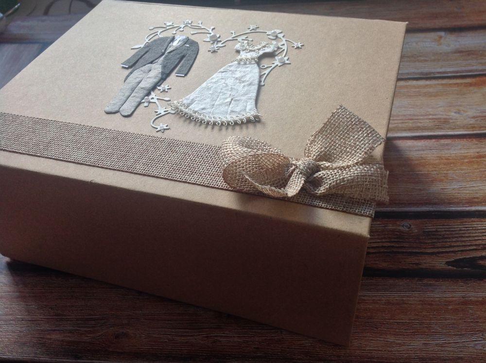Rustic Wedding Keepsake Box Gift To Bride Groom Hessian Burlap