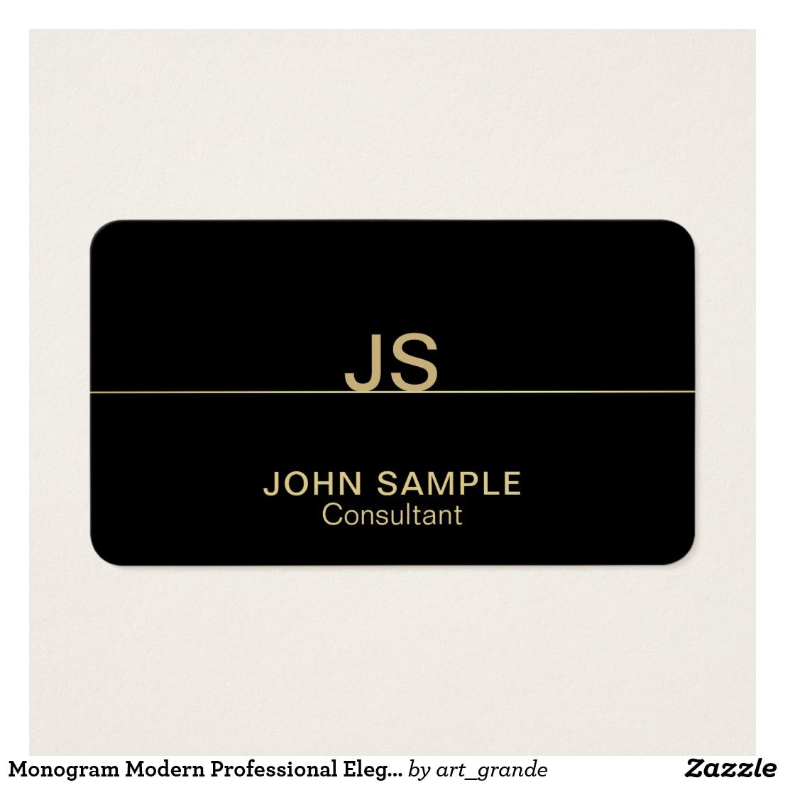 Monogram Modern Professional Elegant Black Gold Business