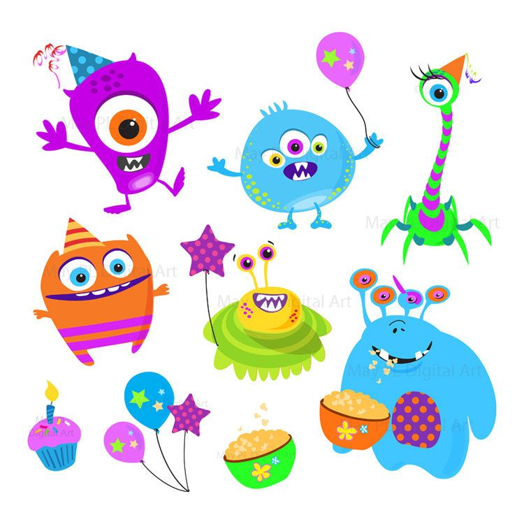 cute monster clipart clip art kids birthday party digital little rh pinterest com Birthday Cake Clip Art Birthday Hat Clip Art