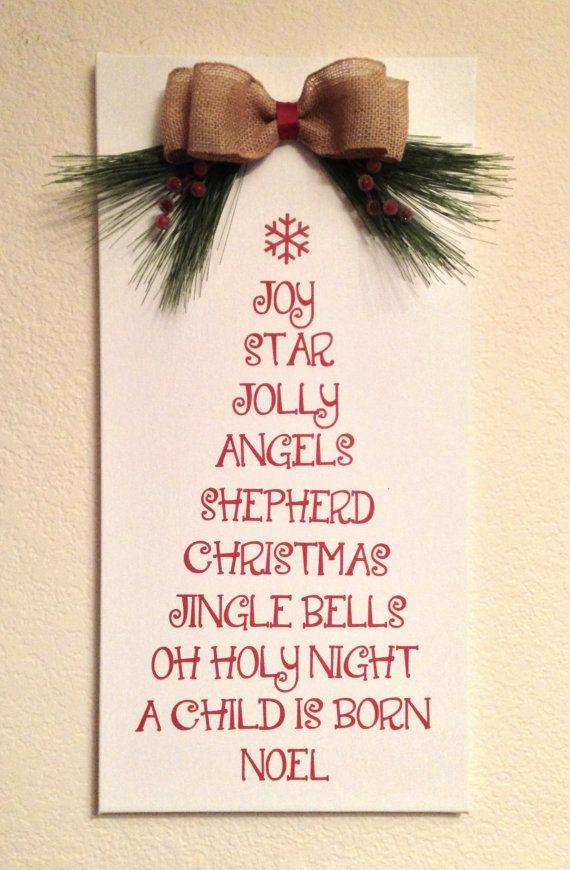 Christmas Wall Hanging Tree Shaped Christmas Words 12 X24 Holiday Decor Christmas Christmas Signs Christmas Wall Hangings