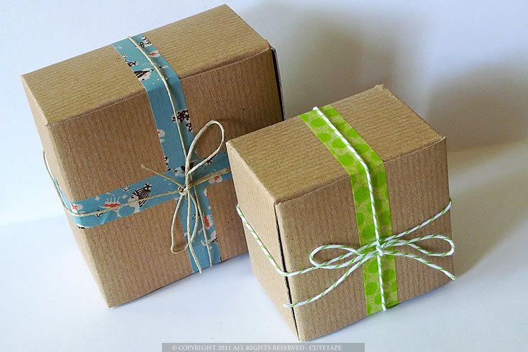 Kraft Gift Boxes Packaging 3x3x2 and 4x4x2 BLANKS - Sample Favor ...