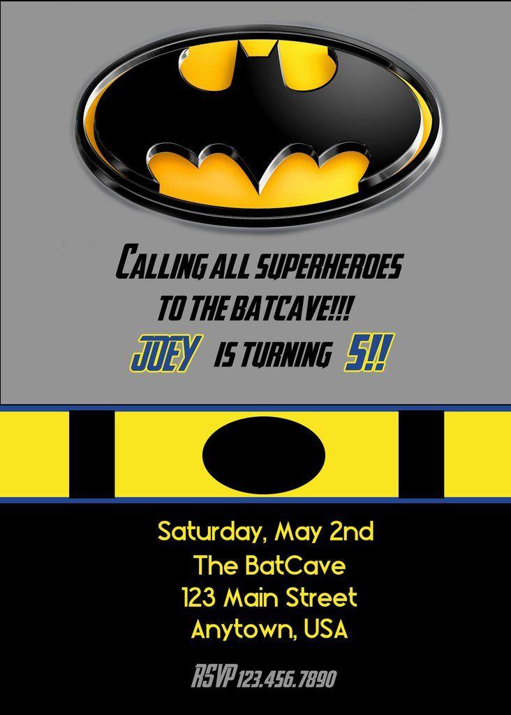 Superhero Birthday Invitation, Batman | Superhero, Batman ...