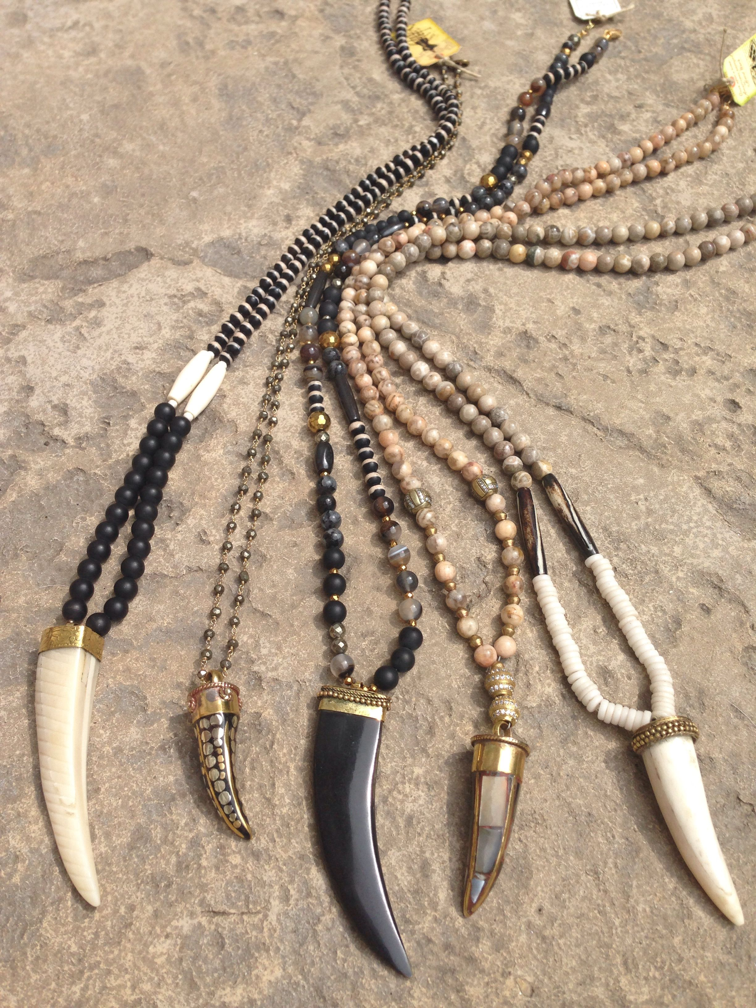 Horn necklaces. Email lisajilljewelry@gmail.com for info