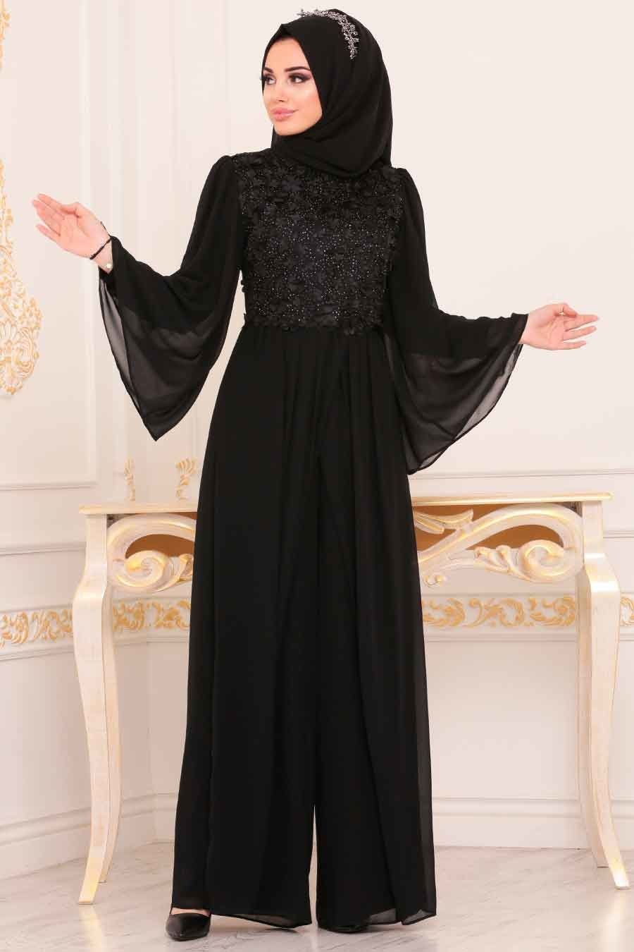 Nayla Collection Uc Boyutlu Cicekli Siyah Tesettur Abiye Tulum 3932s Tesetturisland Com Tesettur Abiye Modelleri 20 Dresses Daily Dress Modest Clothing Women