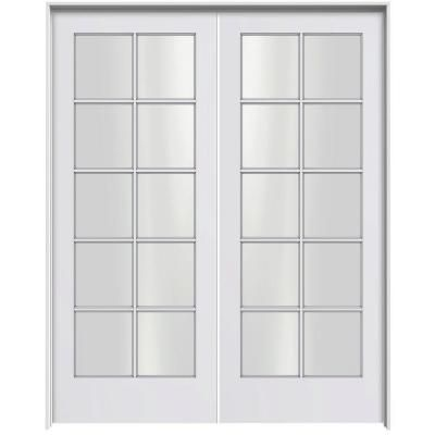 Jeld Wen Smooth 10 Lite Primed Pine Prehung Interior French Double Door With Primed Jamb Discontinued Thdjw103800120 The Home Depot Double Doors Folding Doors Exterior Exterior Doors With Glass