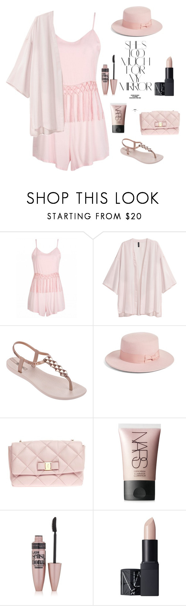 """Untitled #870"" by nikola-sperlikova ❤ liked on Polyvore featuring IPANEMA, Lack of Color, Salvatore Ferragamo, Rika, NARS Cosmetics and Maybelline"