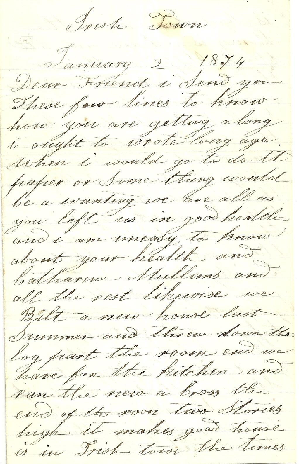 1874 Hand Letter ~ Irish Town New York | Ephemera | Pinterest