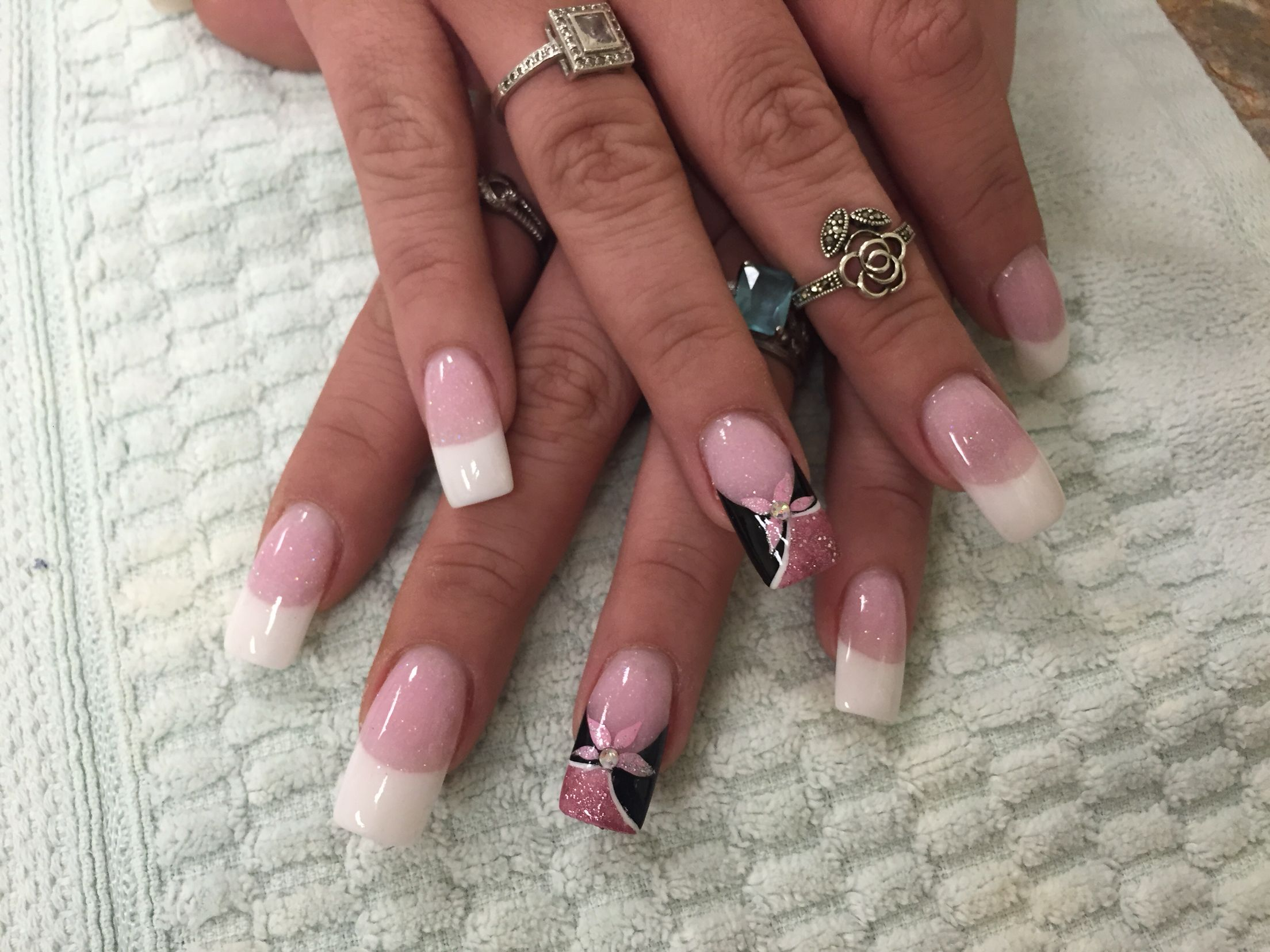 Pink And White Nail Design Nail Art Black Pink Ring Finger Follow My
