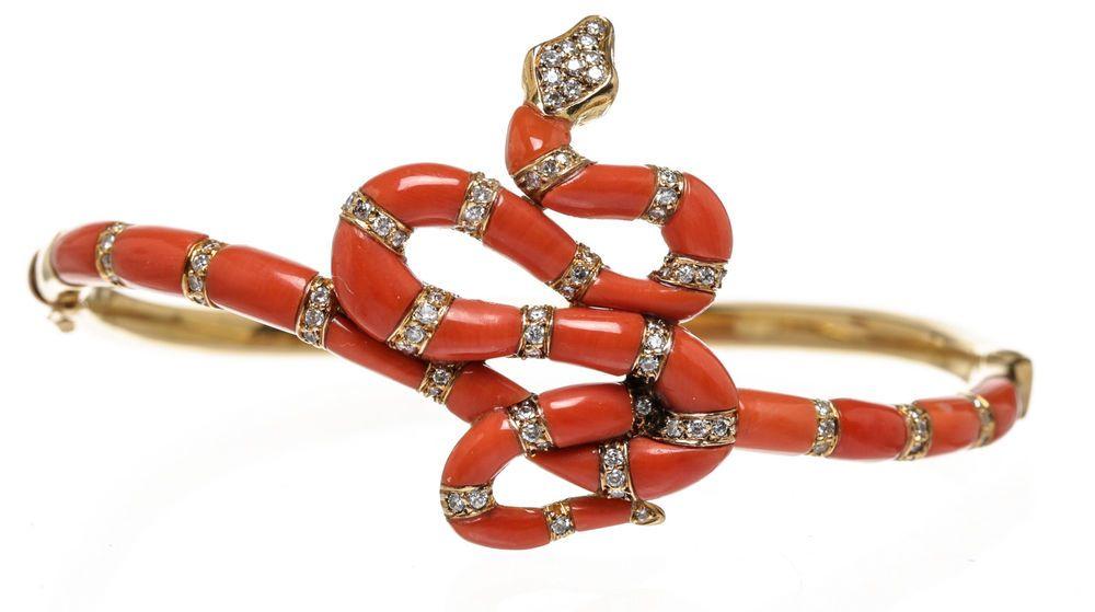 Carrera y Carrera 18k Gold and Red Coral Diamond Snake Bangle Bracelet #Other #brBracelet
